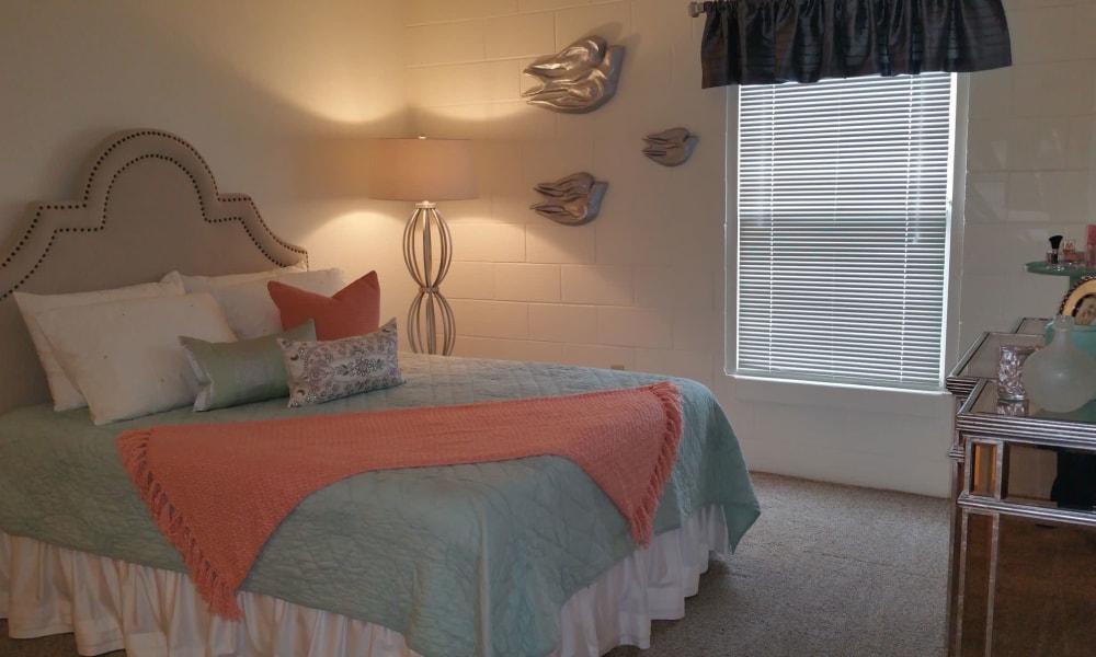 An apartment bedroom at The Phoenix Apartments in El Paso, TX