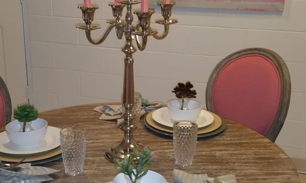 An apartment dining table at The Phoenix Apartments in El Paso, TX