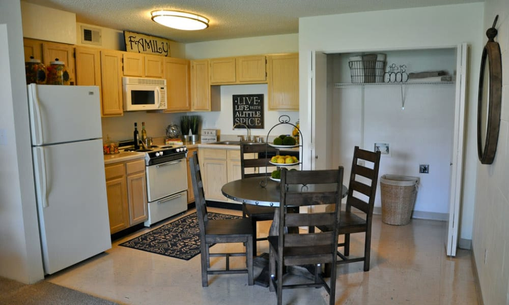 An apartment kitchen at The Phoenix Apartments in El Paso, TX