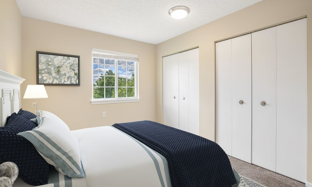 Master bedroom at Waltonwood Carriage Park in Canton, Michigan