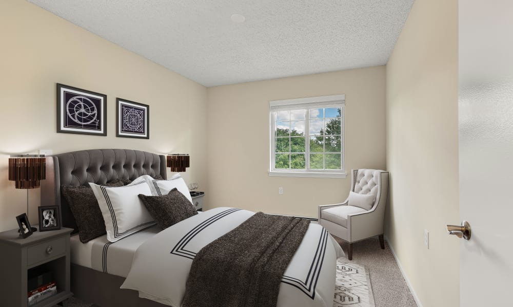 Large bedroom at Waltonwood Carriage Park in Canton, Michigan