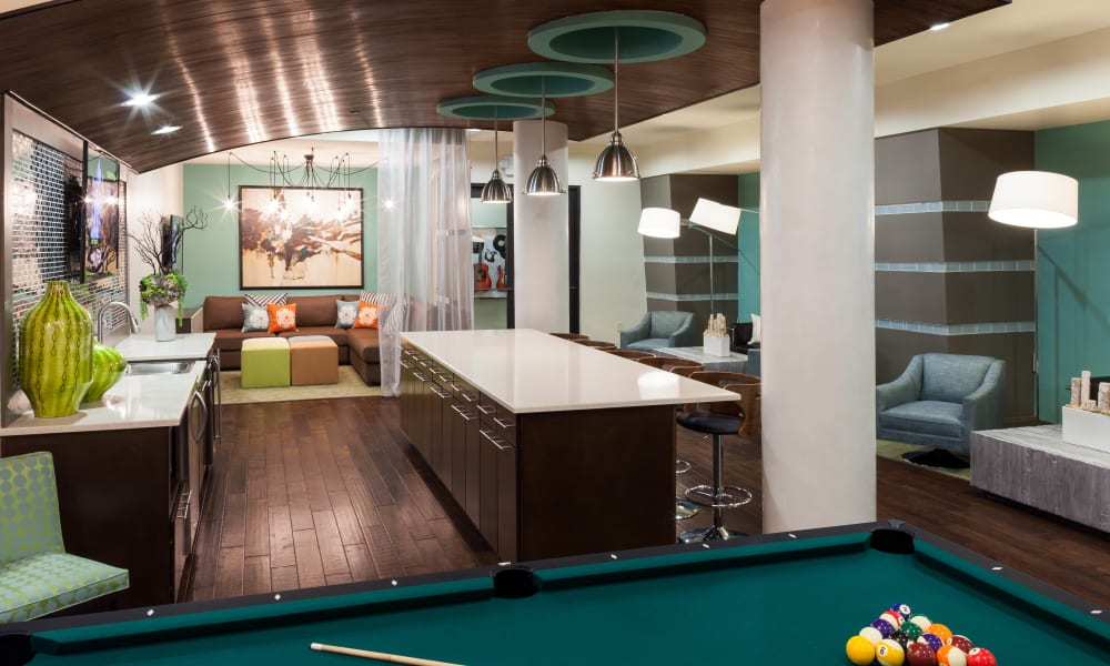 Bar in clubhouse at Bellrock Bishop Arts in Dallas, Texas