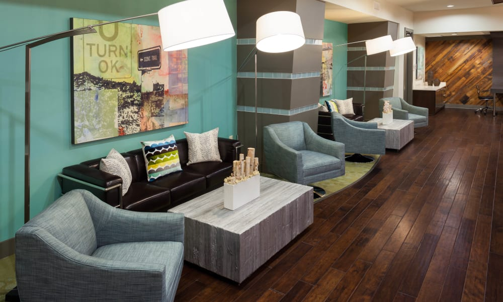 Comfortable clubhouse seating at Bellrock Bishop Arts in Dallas, Texas