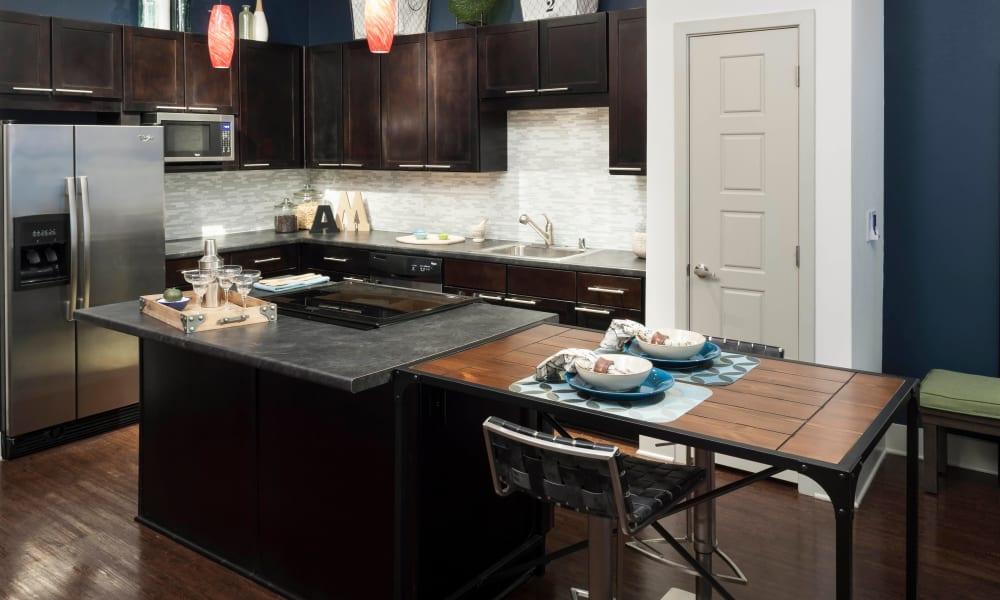 Kitchen island at Bellrock Bishop Arts in Dallas, Texas