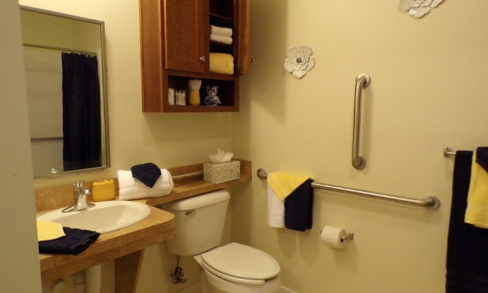 Bathroom in Recovery Care accommodations at Landings of Oregon in Oregon, Ohio