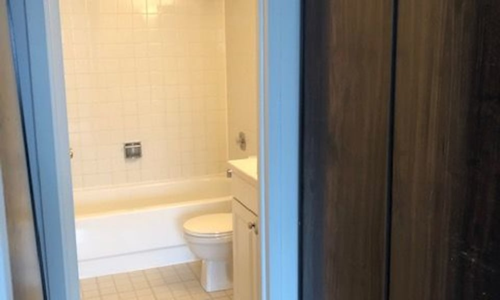 Bright bathroom at Mandalane Apartments in Wheeling, Illinois