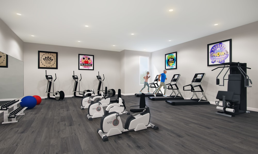 Fitness center at Keystone Place at Richland Creek in O'Fallon, Illinois