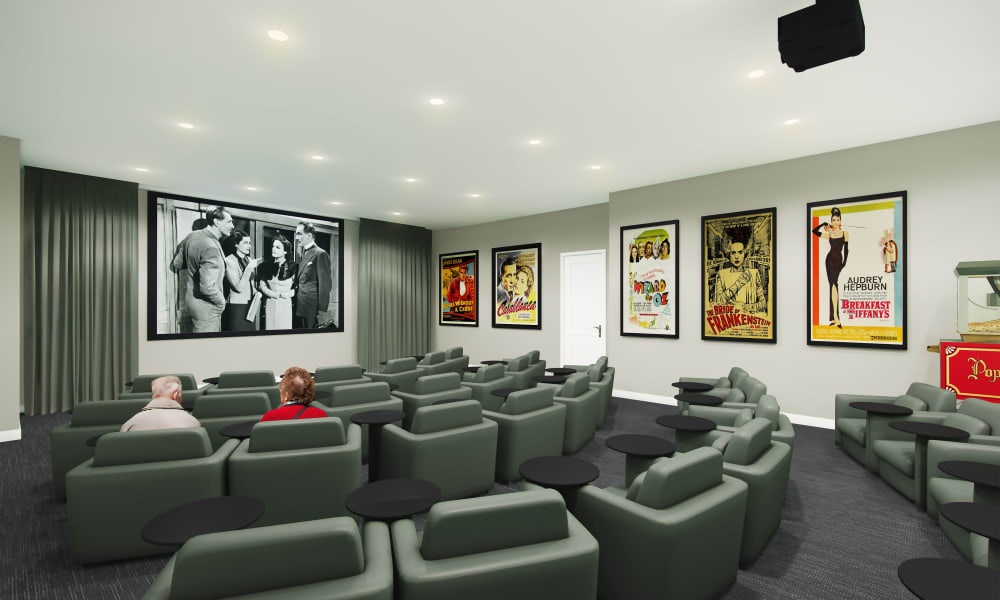 Movie theater in house at Keystone Place at Richland Creek in O'Fallon, Illinois