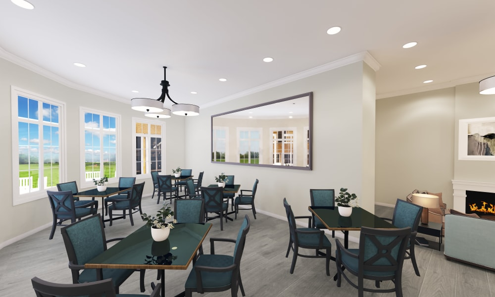 Dining hall at Keystone Place at Richland Creek in O'Fallon, Illinois