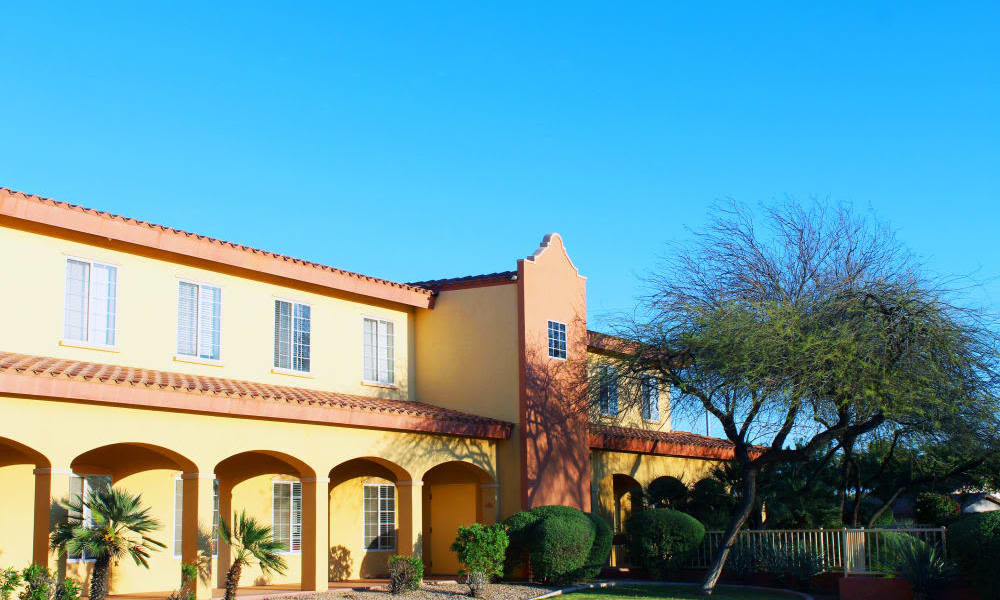 Hacienda style architecture at Pennington Gardens in Chandler, Arizona