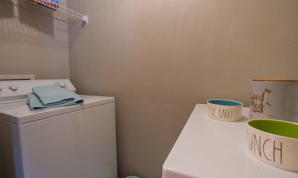 Washer and dryer at Crown Chase Apartments in Wichita, Kansas