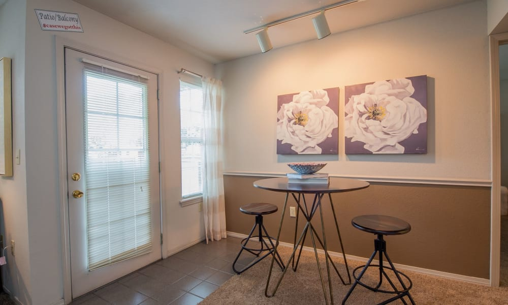 Dining area at Crown Chase Apartments in Wichita, Kansas