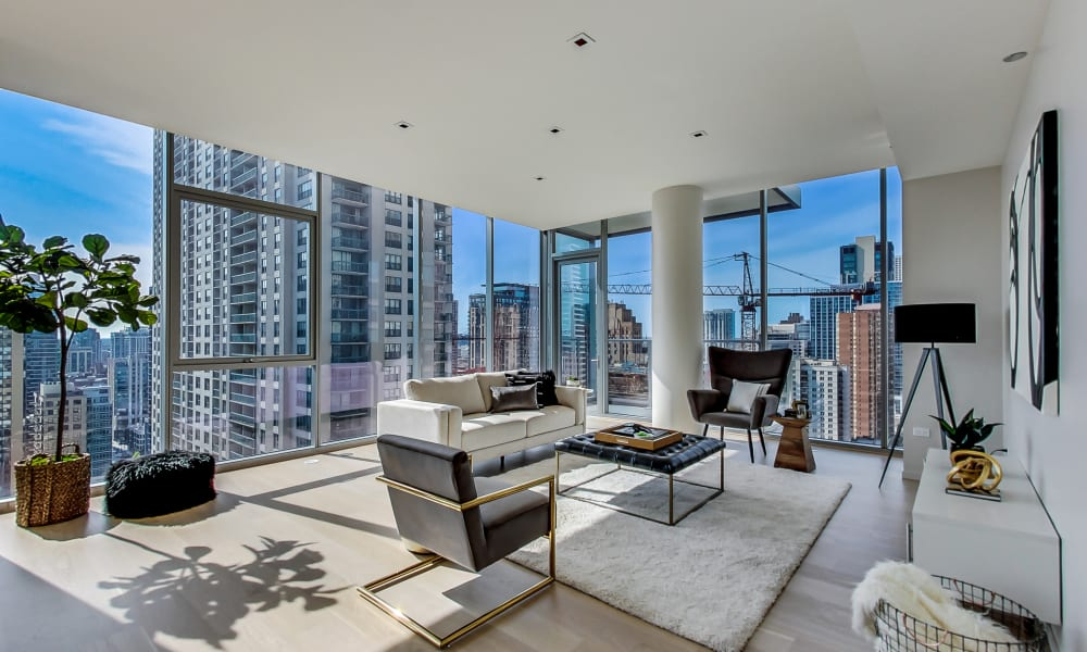 Fabulously furnished living room at Residences at 8 East Huron in Chicago, Illinois