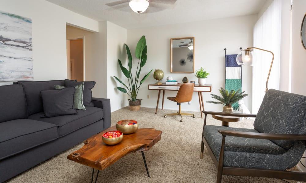 An open apartment floor plan at Mountain Village in El Paso, Texas