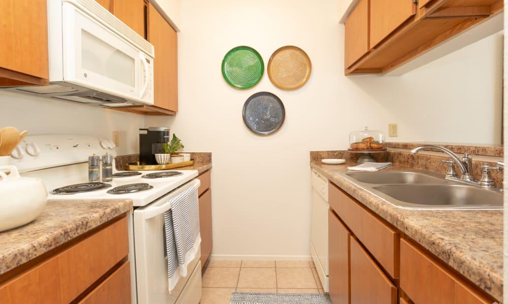 An apartment kitchen at Mountain Village in El Paso, Texas