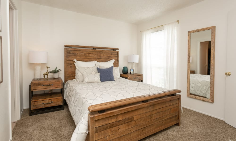 An apartment bedroom at Mountain Village in El Paso, Texas