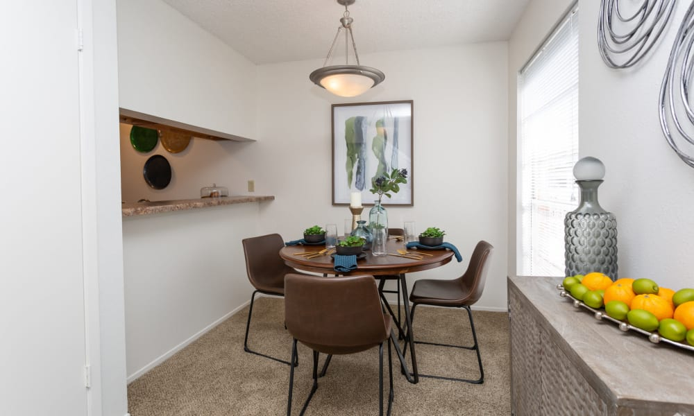 An apartment dining table at Mountain Village in El Paso, Texas
