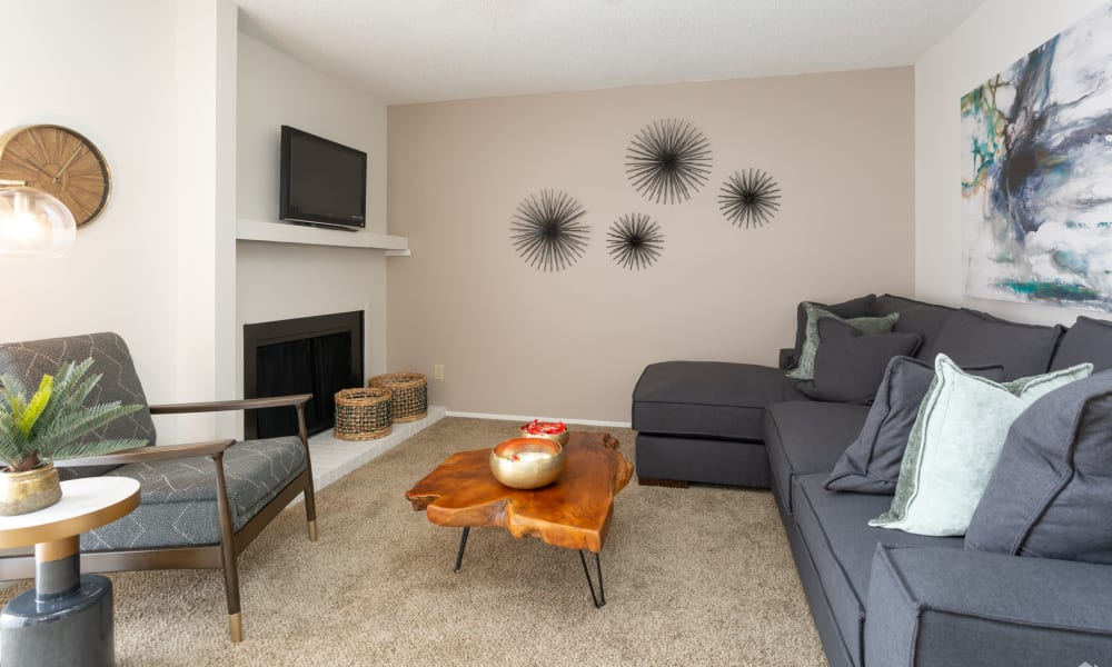 An apartment living room at Mountain Village in El Paso, Texas
