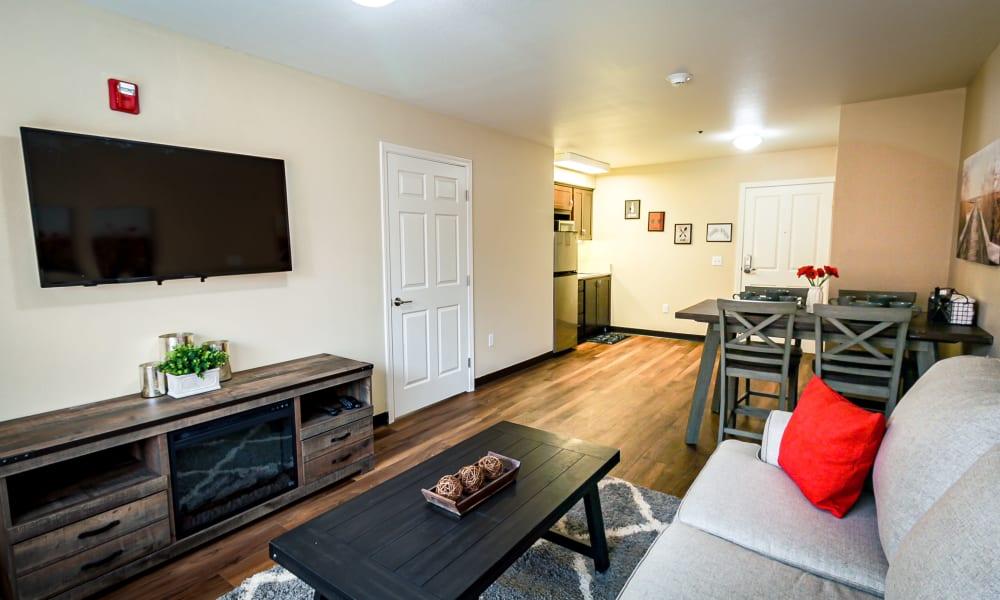 One bedroom at Evergreen Senior Living in Eugene, Oregon