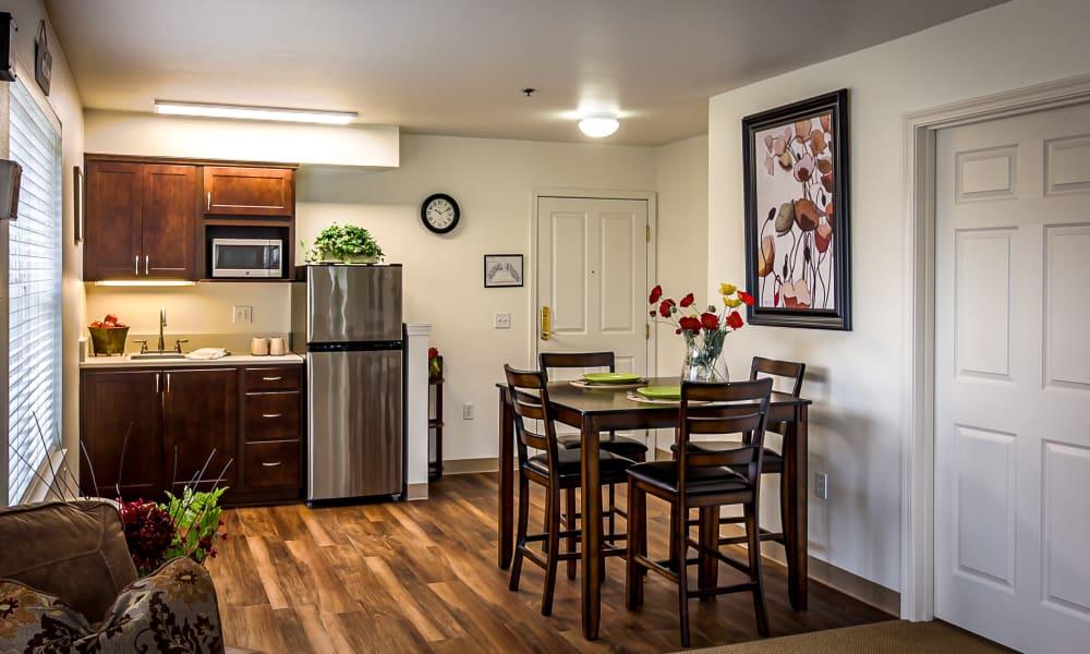 One bedroom deluxe at Evergreen Senior Living in Eugene, Oregon
