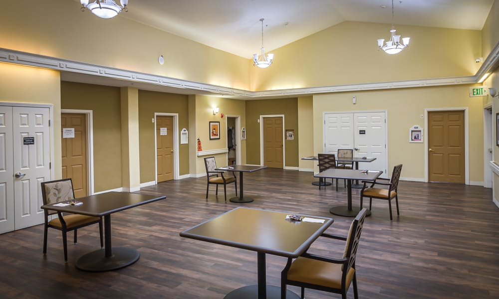 Dining room at Evergreen Memory Care