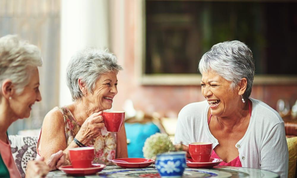 Residents enjoying tea at Inspired Living Delray Beach in Delray Beach, Florida