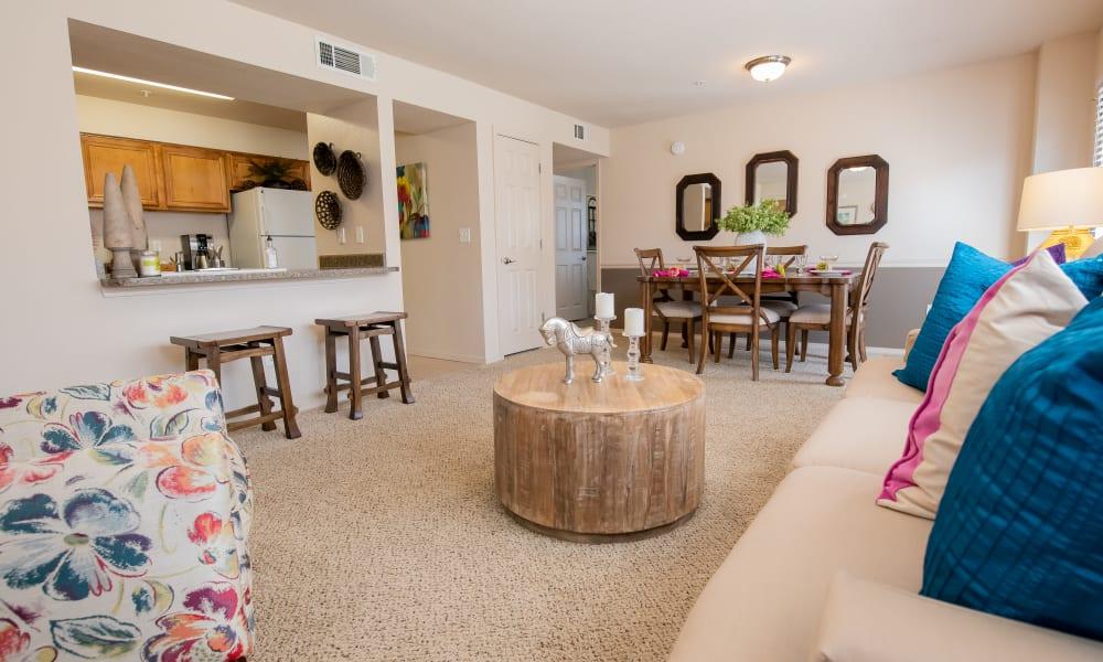 An apartment living room at Remington Apartments in Amarillo, TX