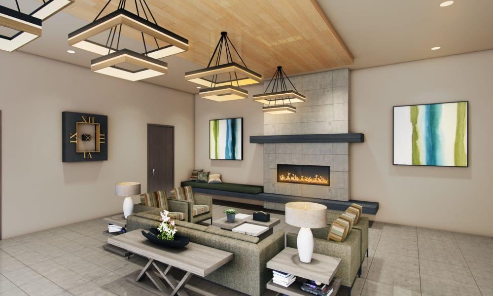 Rendering of main lobby interior at Seasons Memory Care at Rolling Hills in Torrance, California