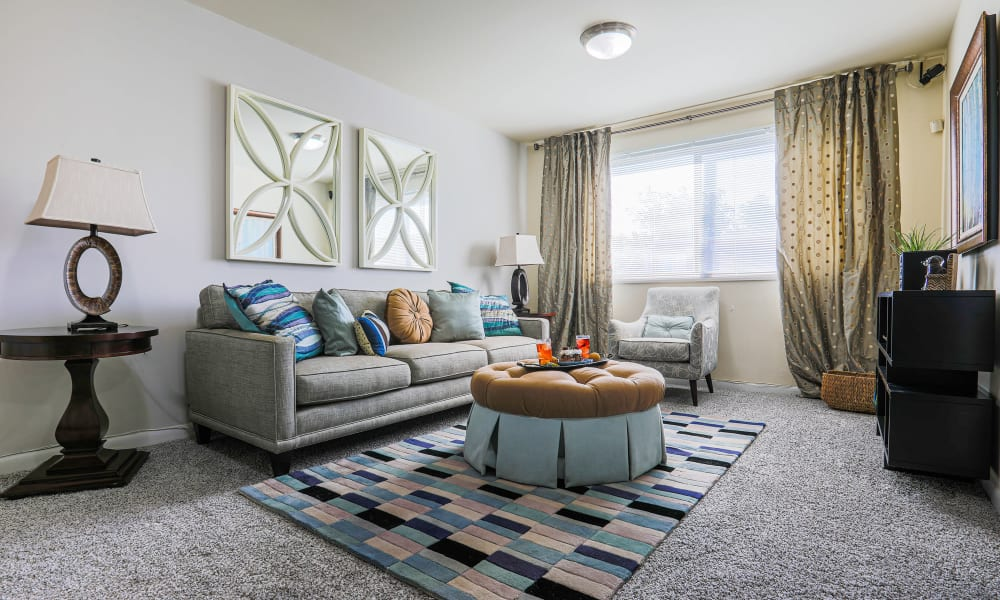 Model apartment living room with a large window letting light in at Regency Pointe in Forestville, Maryland