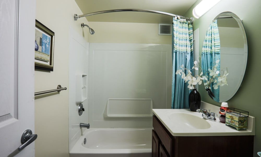 Apartment bathroom at Regency Pointe in Forestville, Maryland