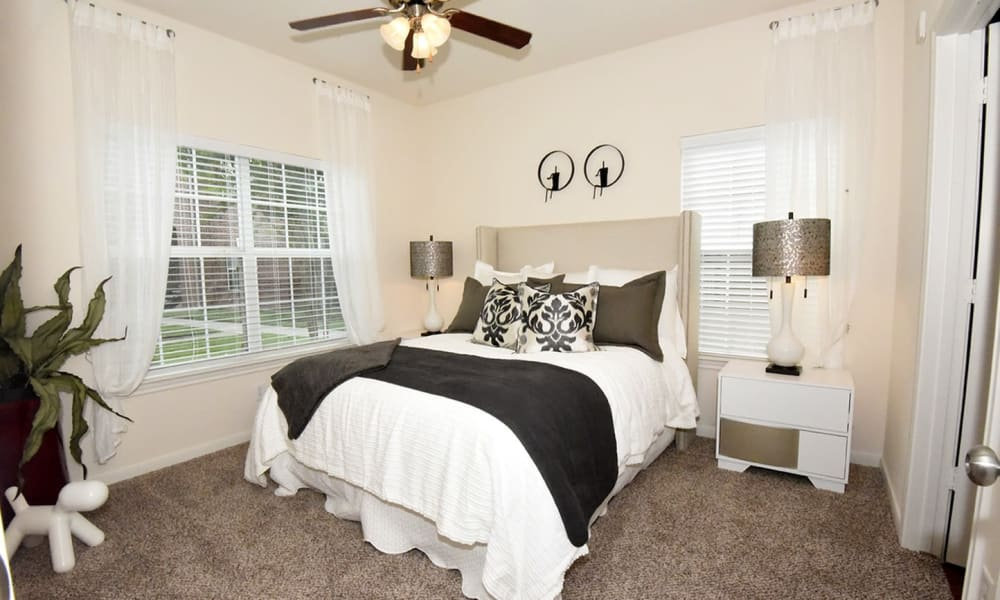 Naturally well-lit bedroom at Augusta Meadows in Tomball, Texas