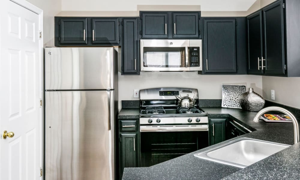 Stainless-steel appliances and dark wood cabinetry in a model home's kitchen at Arbor Ridge Apartments in Owings Mills, Maryland