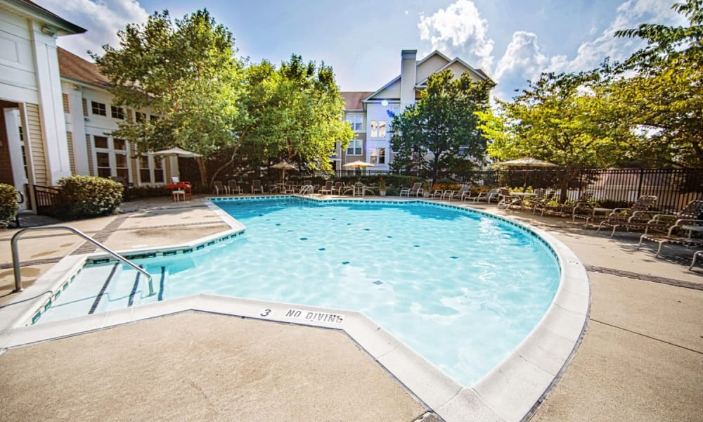 Beautiful day at the swimming pool at Arbor Ridge Apartments in Owings Mills, Maryland