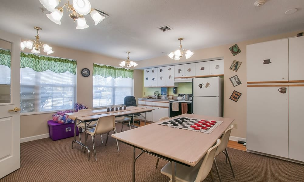 Activities room and community kitchen at Randall Residence of Troy in Troy, Ohio
