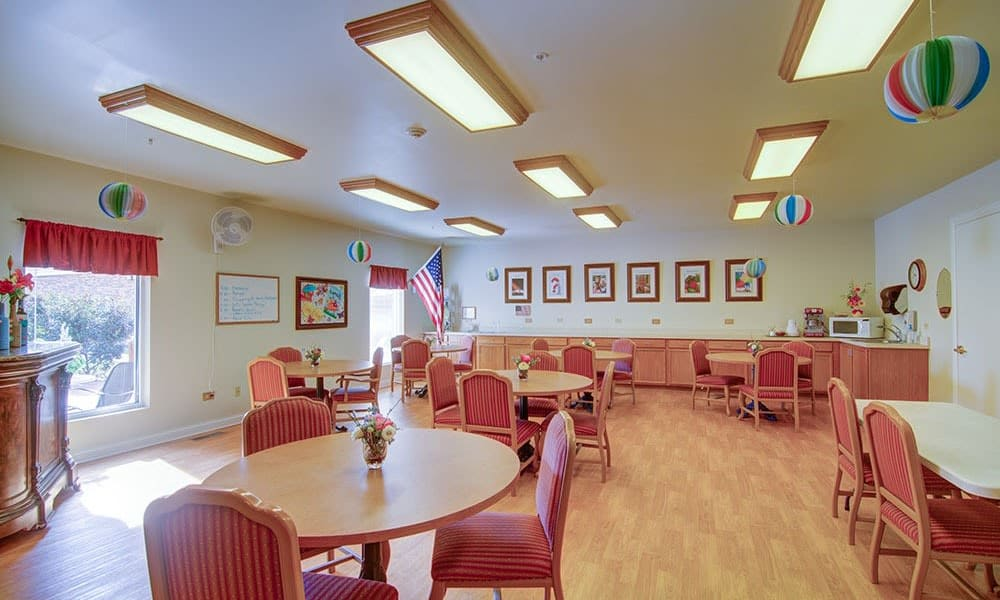 Resident community room with activity center at Randall Residence of McHenry in McHenry, Illinois