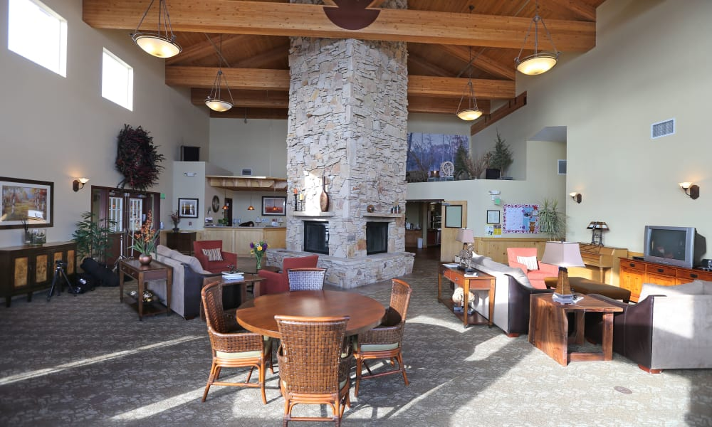Carpeted dining space at Elk Meadows Assisted Living and Memory Care in Oakley, Utah