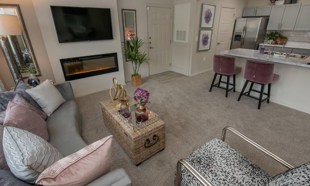 Modern spacious living room at Artisan Crossing in Norman, Oklahoma