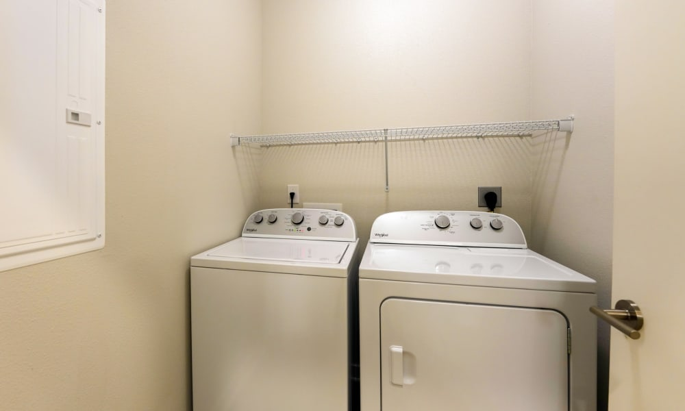 Washer and Dryer in laundry area at Fusion apartments in Jacksonville, Florida