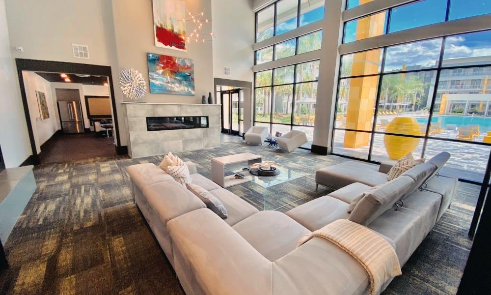 Comfy sofas near large windows at Fusion
