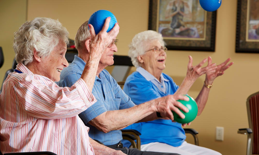 Group of residents playing a game involving colored balls at Deer Crest Senior Living in Red Wing, Minnesota