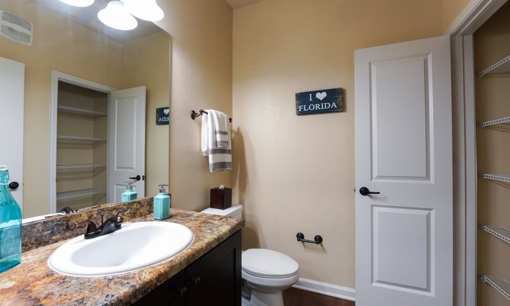 Bathroom in the bedroom with closet at Cabana Club and Galleria Club in Jacksonville, Florida
