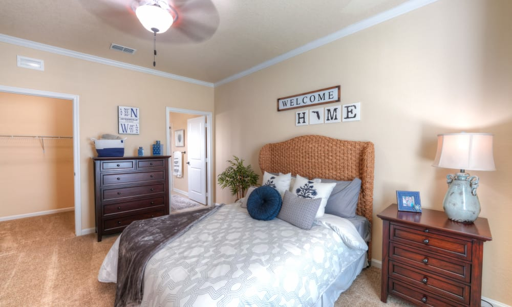 Cozy bedroom with carpet and large closet at Cabana Club and Galleria Club in Jacksonville, Florida