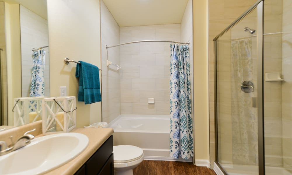 Bathroom with nice shower tub at Cabana Club and Galleria Club in Jacksonville, Florida