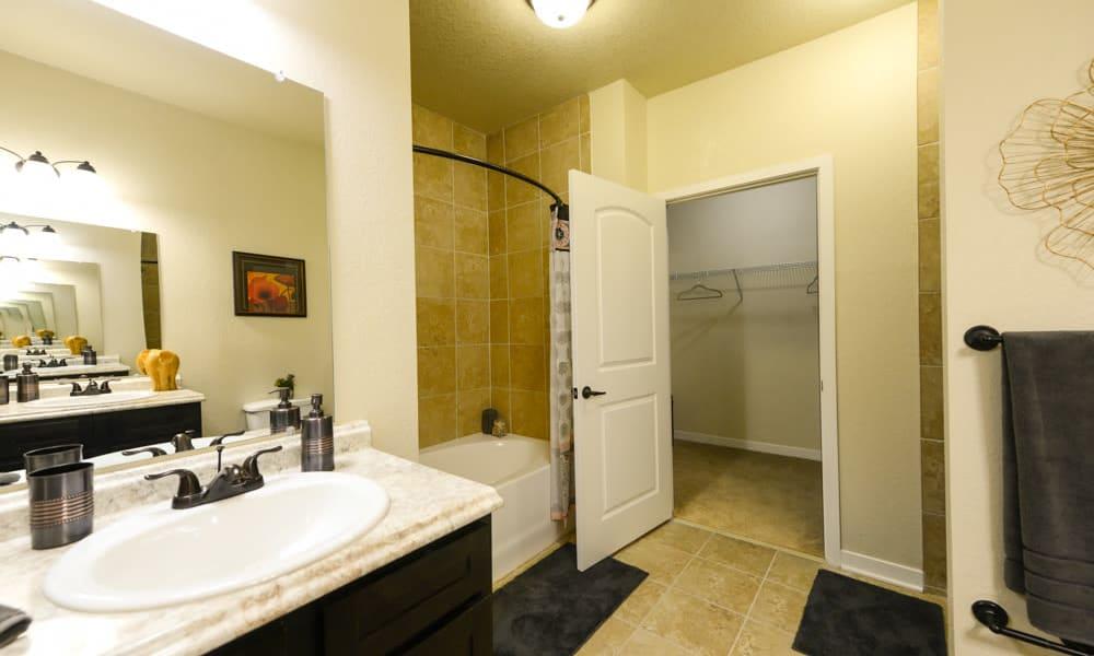 Bathroom sink in spacious bathroom at Hacienda Club in Jacksonville, FL