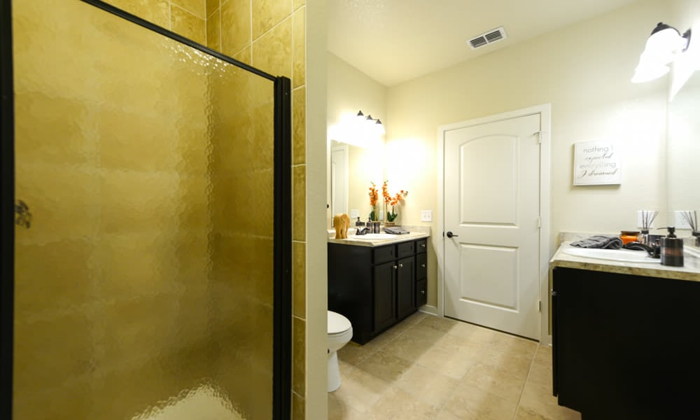 Bathroom with shower and lots of room at Hacienda Club in Jacksonville, FL
