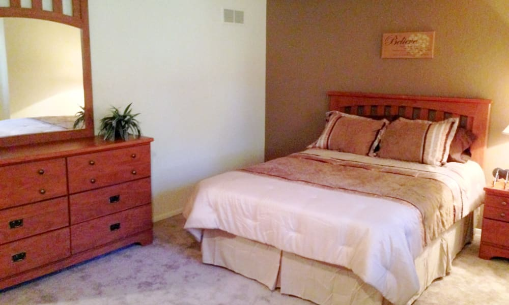 Spacious bedroom at Autumn Woods Apartments & Townhomes in Jackson, Michigan
