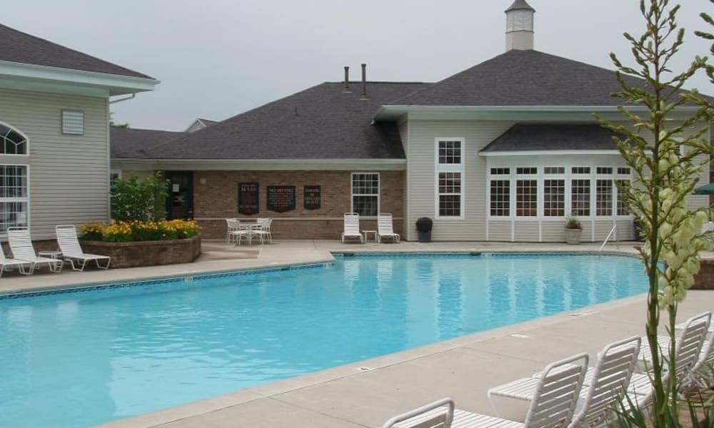 Sparkling pool at Avalon at Northbrook Apartments & Townhomes in Fort Wayne, Indiana