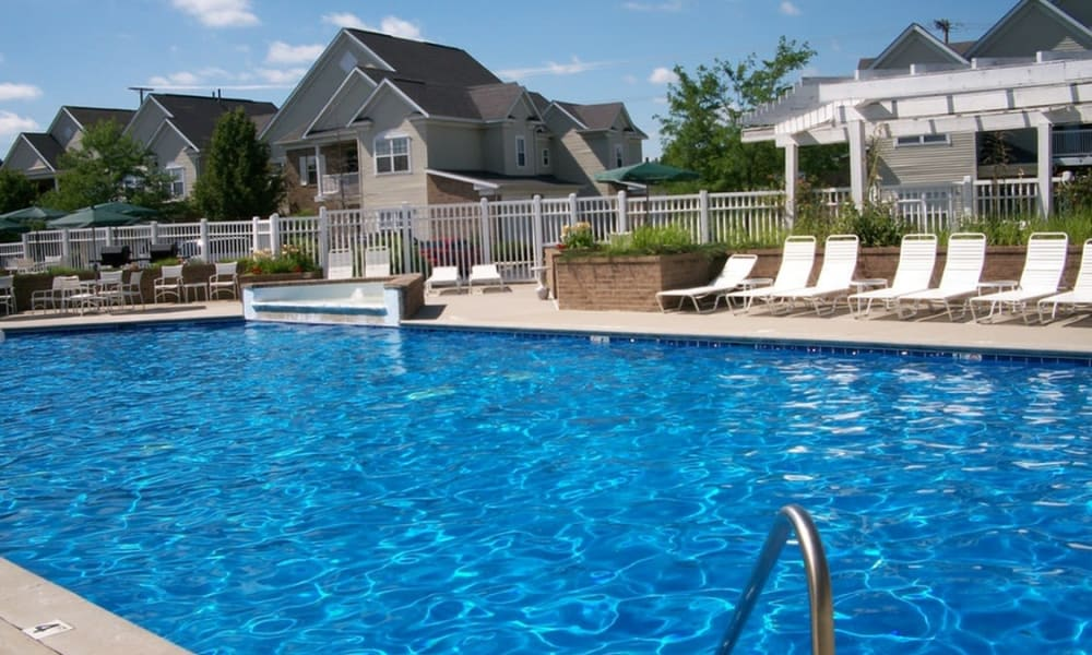 Resort style pool at Avalon at Northbrook Apartments & Townhomes in Fort Wayne, Indiana