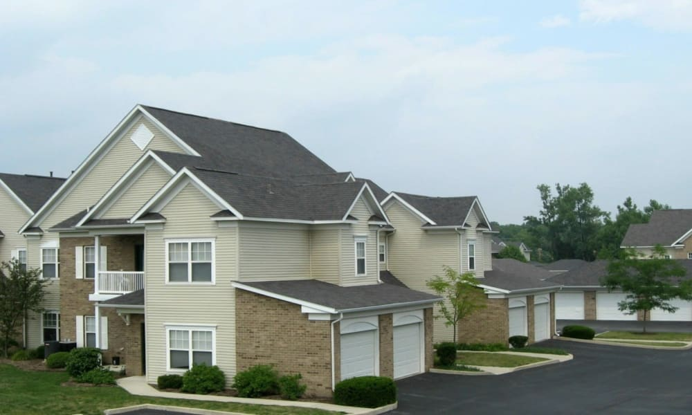 Townhome with garages at Avalon at Northbrook Apartments & Townhomes in Fort Wayne, Indiana