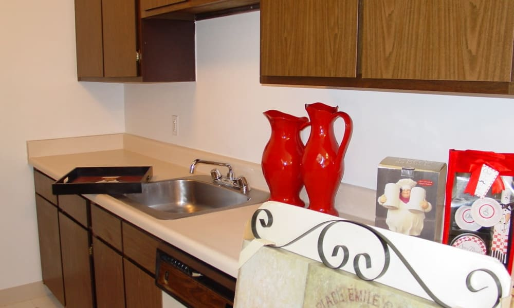 Kitchen sink at Briarcliffe Apartments & Townhomes in Lansing, Michigan